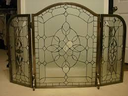 fireplace glass screen for inspirations fold pewter leaded glass screen lead