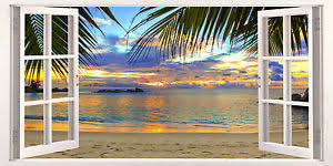 image is loading 3d window effect on canvas tropics beach scene  on beach scene canvas wall art with 3d window effect on canvas tropics beach scene caribbean picture