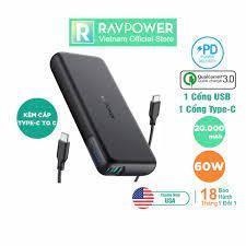 Pin Sạc Dự Phòng RAVPower RP-PB201 20000mAh In/Out USB Type C, QC 3.0, PD 60W  Sạc Được Macbook - Hàng Chính Hãng