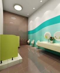 Childrens bathroom with a extravagantly playful and vivid theme