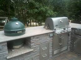 Big Green Egg Outdoor Kitchen Outdoor Living Big Green Egg Smoker And Saber Grill Custom