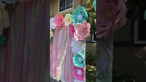 Paper Flower Photo Booth Backdrop Unicorn First Birthday Party Candy Table And Photo Booth Paper Flowers Backdrops