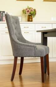 tufted back upholstered dining chair with arm rest dark gray glitzhome dark heather
