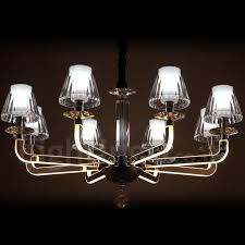 dimmable modern contemporary 8 light crystal chandelier with glass shade for living room dinning
