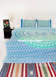 sea green king bohemian bedding ombre mandala duvet cover set with 2 pillow shams