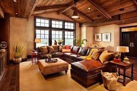 western living room furniture decorating. Western Living Room Decor With Leather Sofa And Wood Plank Ceiling Furniture Decorating