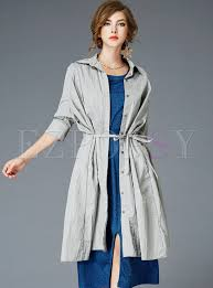 chic belted lapel single ted trench coat
