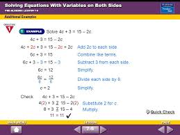 solving equations with variables on both sides solving two step equations ppt
