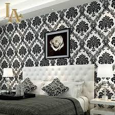 Modern Wallpaper For Living Room Aliexpresscom Buy European Embossed Flocking Black Damask