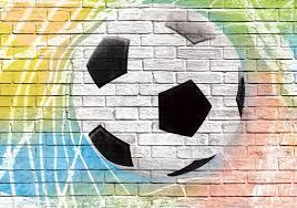 football graffiti brick wall photo