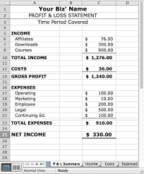 Free Profit And Loss Template Excel Profit And Loss Account Template Excel Or Free Bank Statement