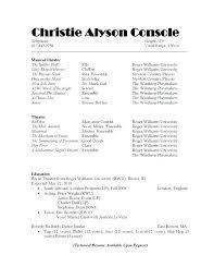 Sample Musician Resume 11 12 Sample Musical Theatre Resume Lascazuelasphilly Com