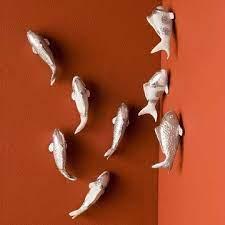 gold leaf design group fish wall art
