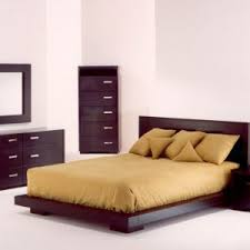 Brown Bedroom Set Featured Queen Size Wood Low Profile Bed Frame ...