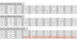 New Balance Childrens Size Chart New Balance Size Chart Socks