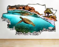 wall stickers turtle ocean swimming