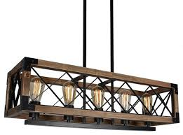 5 light square wood and metal pendant lighting industrial vintage chandelier farmhouse kitchen island lighting by light go