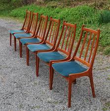 slat back chairs. Set Of Six Slat Back Vintage Teak Dining Chairs