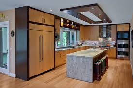 Lovely Delightful Low Ceiling Using Recessed Lighting Ideas For Modern Kitchen  Design With Marble Island And Wooden Cabinets Pictures