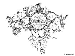 Dream Catchers Sketches black and white hand drawn floral ornament with petunia flower and 58