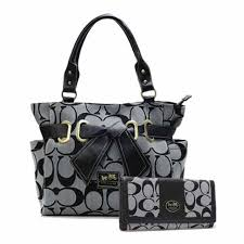 Coach Poppy Bowknot Signature Medium Grey Totes ANC+Grey Wallets BLK