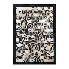 reduced leather carpet rug k 1672 10x10 zebrone on white frame black