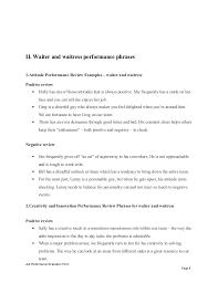 Restaurant Employee Performance Evaluation Form Waiter And Waitress Performance Appraisal