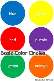 colors for kids.  Kids Simple Basic Color Circles Printable To Practice Recognition  Sorting Words And Colors For Kids N