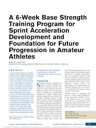 pdf a 6 week base strength program for sprint acceleration development and foundation for future progression in athletes