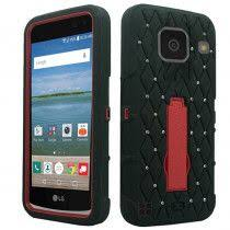 lg zone 3 case. lg optimus zone 3 - studded diamond rugged case with kickstand, black/red lg