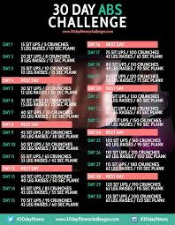 30 Day Ab Challenge Fitness Workout Chart Image How Do It Info