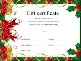 Christmas Gift Certificates Free Holiday Gift Certificate