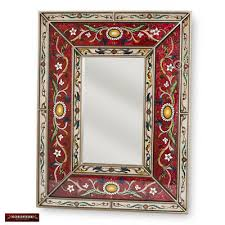 arts crafts large red mirror wall