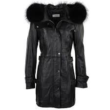 fur leather hooded coat black ddy harriet