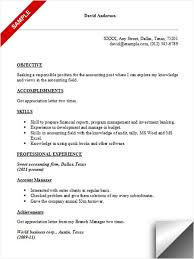 Resume Objective Accounting Free Resume Templates 2018
