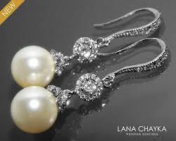 pearl bridal earrings pearl chandelier wedding earrings swarovski 10mm pearl drop cz earrings ivory pearl dangle earrings bridesmaid jewelry 32 90 usd