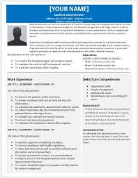 medical administration resume medical administration resumes for ms word resume templates