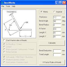 Sheet Metal Bend Deduction Chart Bendworks Download Simple Calculator To Help You Calculate