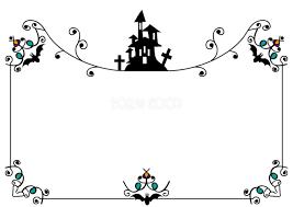 ハロウィンおしゃれなお城のシルエットフレーム枠無料イラスト55349