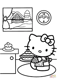 Small Picture Hello Kitty Prepares for Christmas coloring page Free Printable