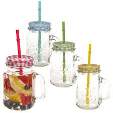 details about 500ml glass drinking cup handle straw glasses mason jar colour lids retro set