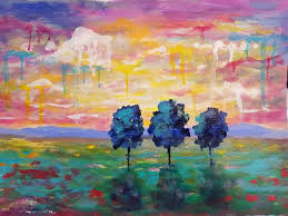 easy sunset landscape drip trees live beginner acrylic painting tutorial by angela anderson on you