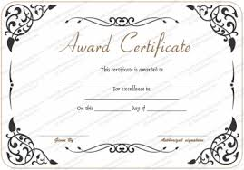 Sample Awards Certificate Award Of Excellence Template Certificate Templates