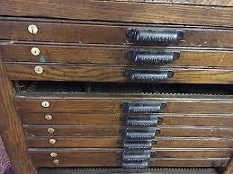 3 of 9 antique hamilton letter press typeset printers cabinet vine oak soapstone top
