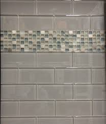 glass subway tile with glass mosaic insert