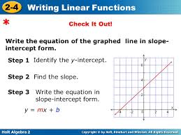 write the equation of the graphed line in slope intercept
