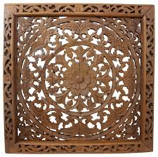 lotus wall panel teak wood inlay square brown stain and natural wax on tiki wood wall art with lotus wall panel teak wood inlay square brown stain and natural wax