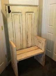 old wood door made into a bench