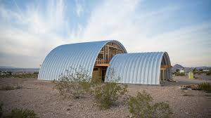 2 steel buildings create a home and garage called G-Home