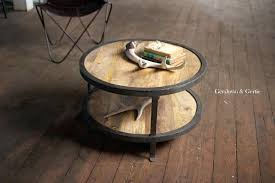 rustic wood and railroad iron round coffee table small tables with storage